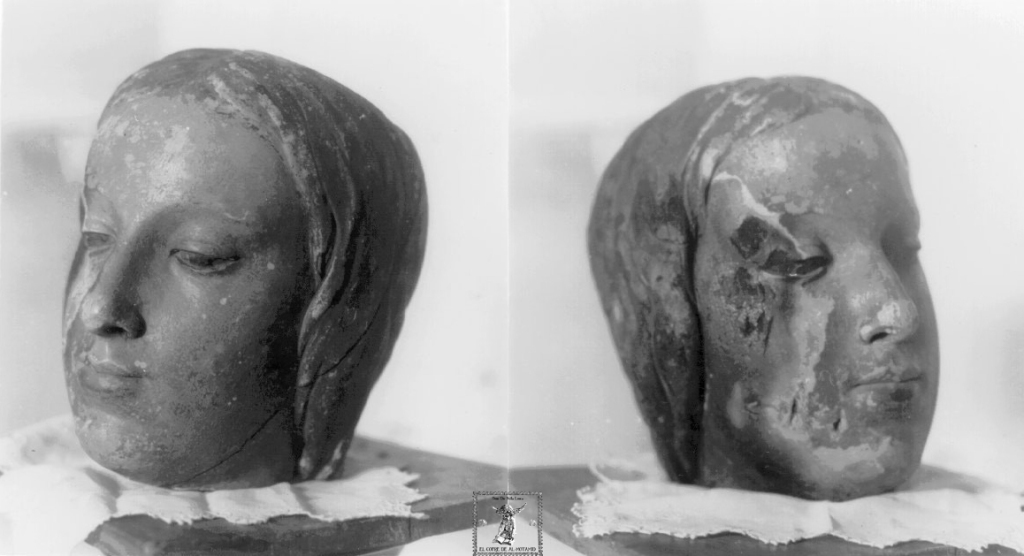 Sendos detalles de la cabeza de la Virgen de Belén calcinada