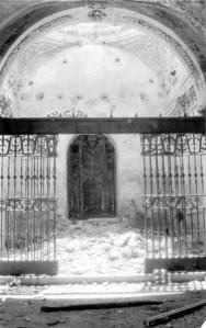 La capilla de la congregación del Cristo de la Buena Muerte y la Virgen de la Soledad horas después de ser destruida.