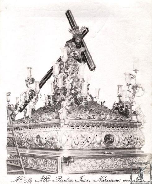El Cristo de La O ya con la túnica bordada por las hermanas Antúnez en 1891.