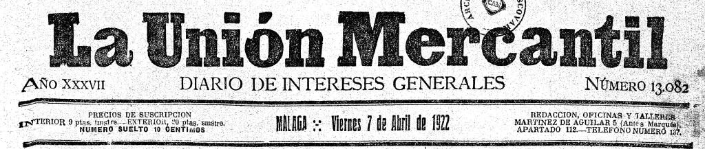 Cabecera de La Unión Mercantil donde se recoge la localización de los talleres, redacción y oficinas en c/. Marqués 5.