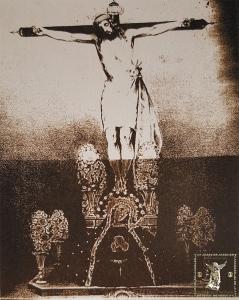 """Verdadero retrato de la efigie de Jesús crucificado que con el título de la Sangre se venera en la iglesia parroquial de Nuestra Señora de las Mercedes y San Lázaro de la ciudad de Málaga"""". J. Schopel, ca. 1852."""