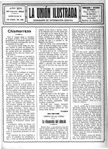 Primera página de La Unión Ilustrada del miércoles 26 de abril de 1922. (Archivo Díaz de Escovar)
