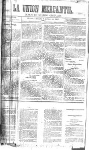 Primera página del diario La Unión Mercantil del 6 de enero de 1886. (Archivo Díaz de Escovar)